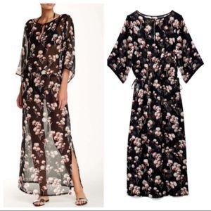 Tory Burch Solaro Long Silk Floral Caftan Dress